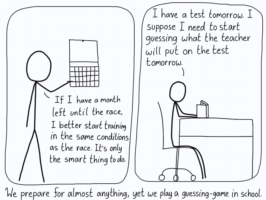 A student looks at the calendar as they plan for their upcoming race, knowing they need to run specific workouts. In the second panel, the student sits down at their desk and starts playing the guessing game of figuring out what will be on the exam.