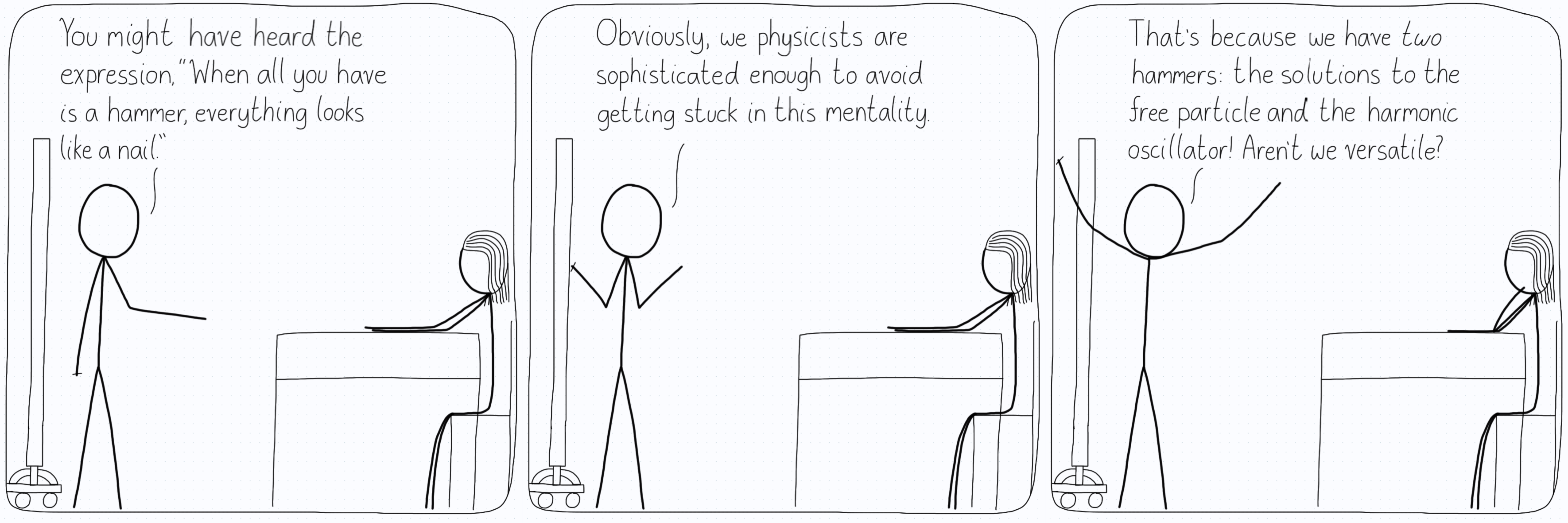 All the things in the world are free particles or harmonic oscillators.