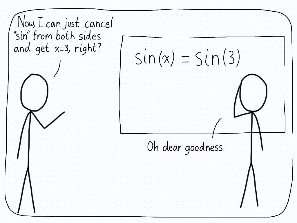 "A student makes a mistake while simplifying sin(x) = sin(2) by ""cancelling"" the ""sin""."