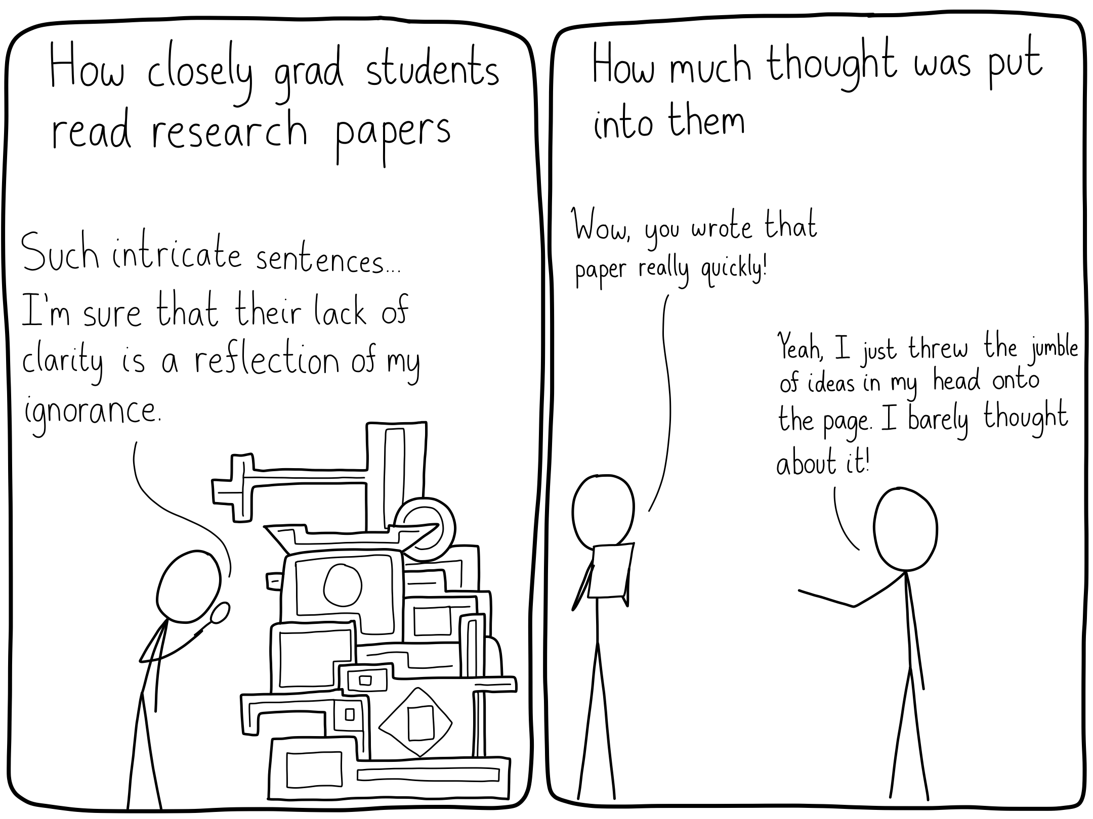 Grad students think that lines in a research paper are much more significant than they really are.