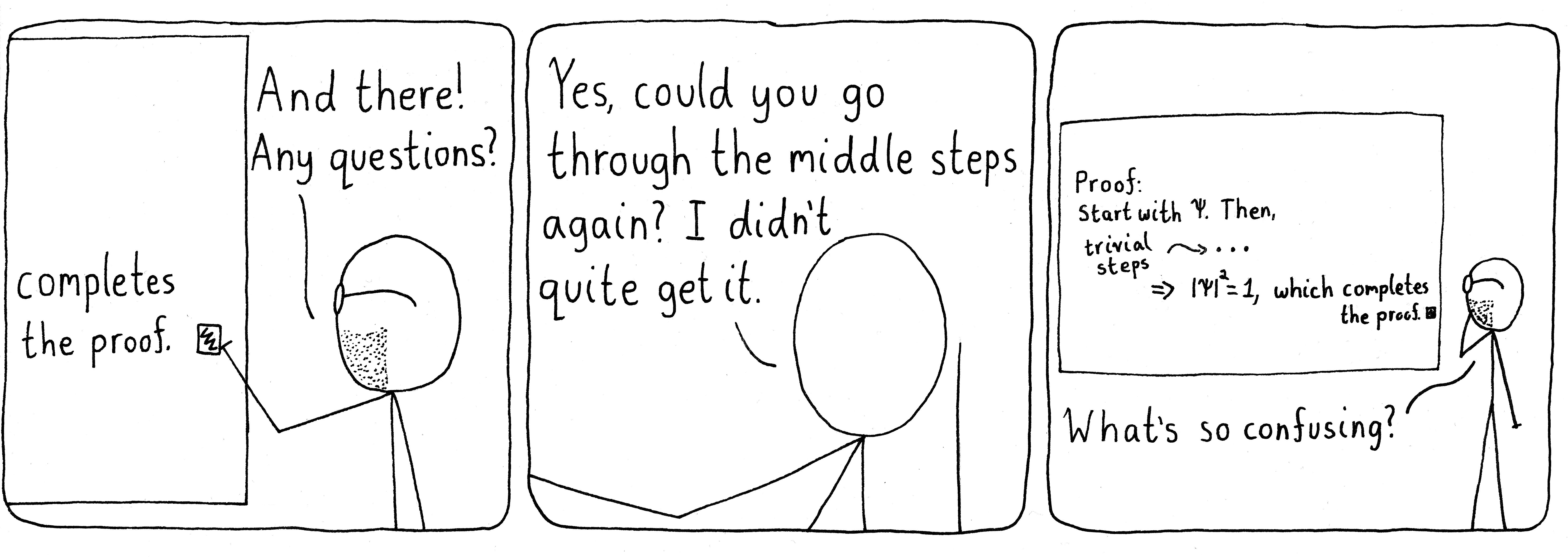 Professors skipping the intermediate steps.