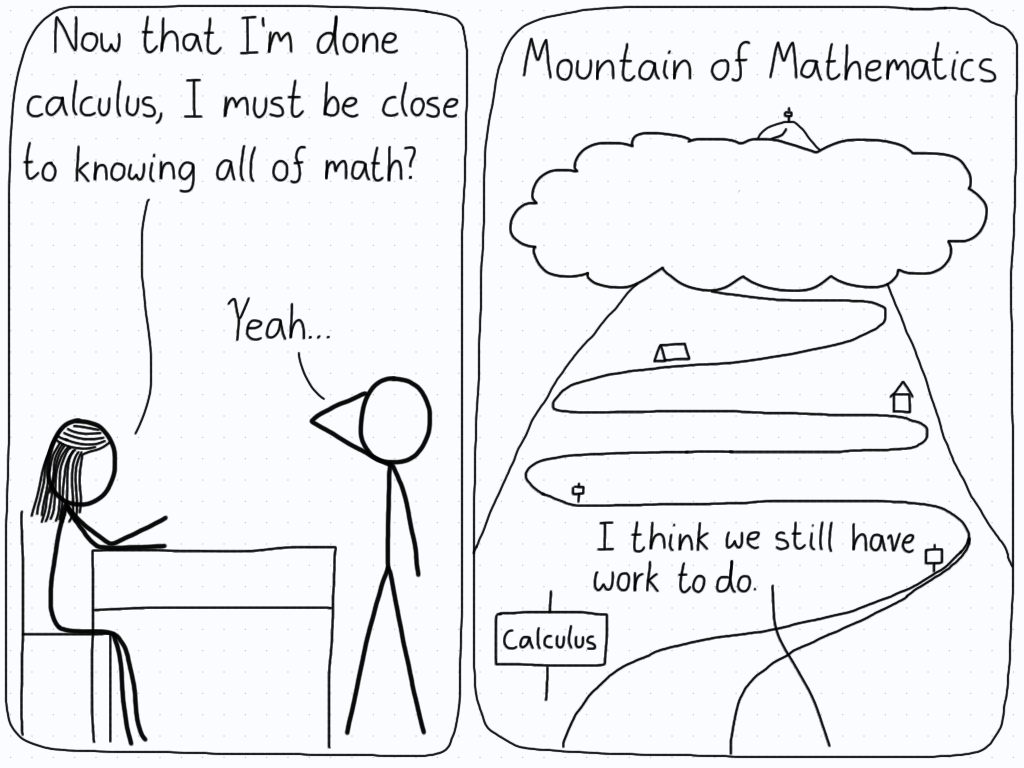 "Student: ""Now that I'm done calculus, I must be close to knowing all of math?"" Tutor: ""Yeah..."" (Second panel shows a mountain with calculus at the very bottom.) Tutor: ""I think we still have work to do."""
