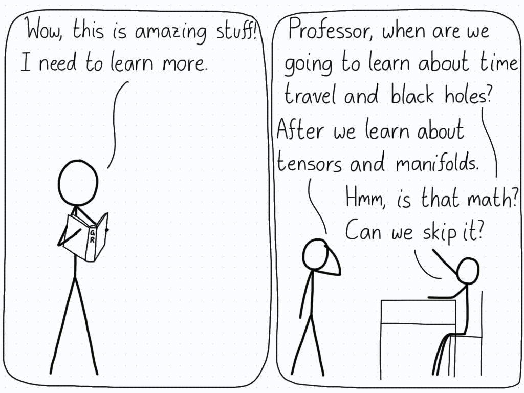 "In the first panel, a student reads a popular physics book and enjoys the material. In the second panel, the student asks the teacher to skip the ""boring"" math stuff in order to get to the time travel and black holes."