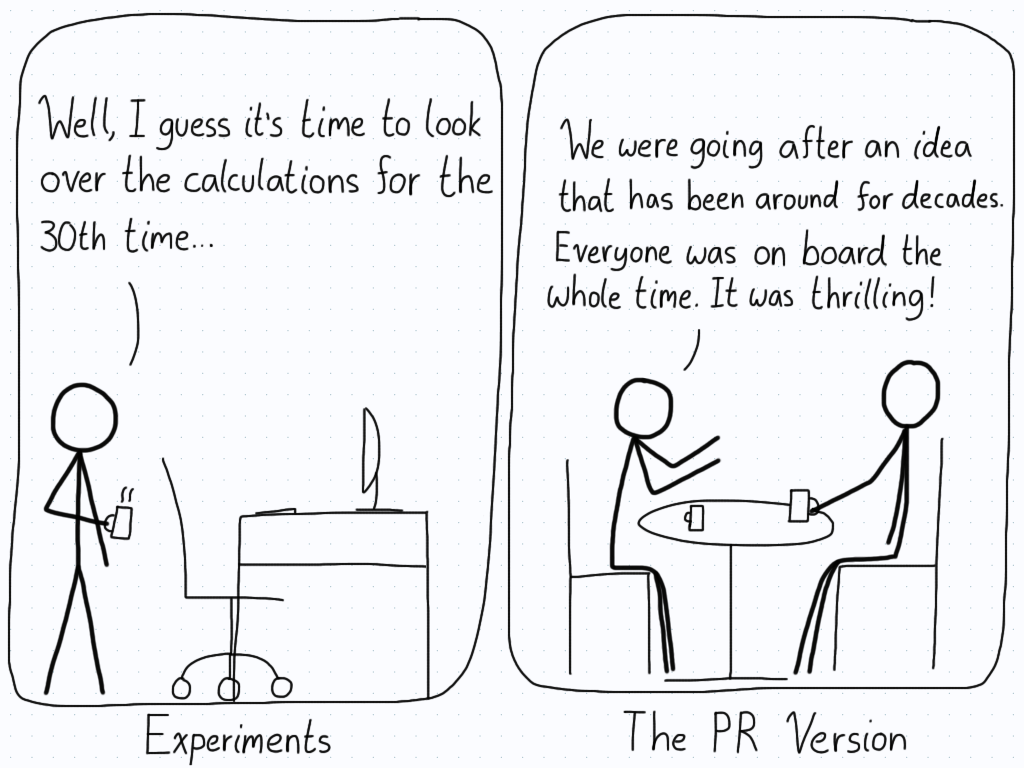 In the first panel, the researcher walks to his computer to check the calculations for the 30th time. In the second panel, the researcher discusses the experiment with a friend, telling them how amazing the whole experiment is and how much fun he's having. This is the PR version.