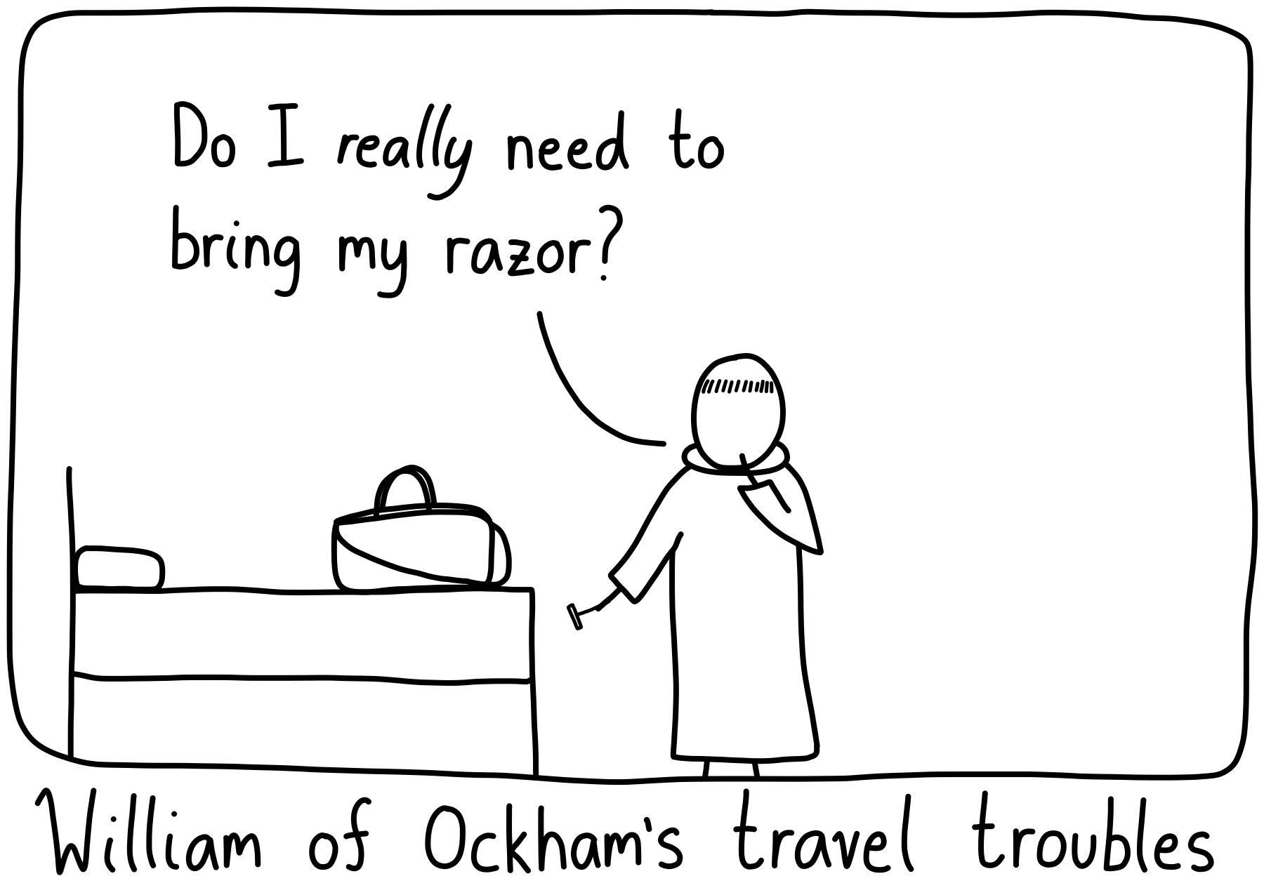 William of Okham decides whether to include his razor in his travel bag.