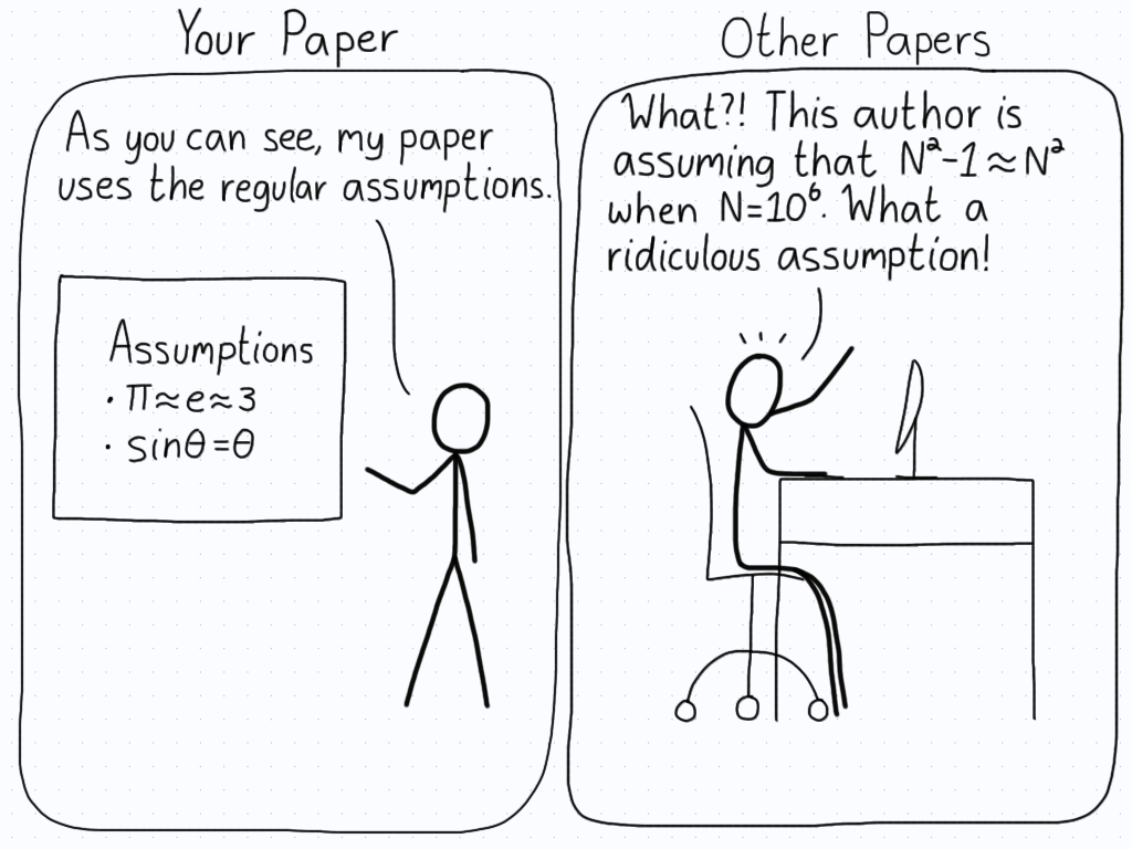 "Left panel (Your paper): ""As you can see, my paper uses the regular assumptions."" (Points to pi = e = 3, and the small angle approximation.) Right panel (Other papers): ""What?! This author is assuming that N^2 - 1 = N^2 when N = 10^6. What a ridiculous assumption!"""