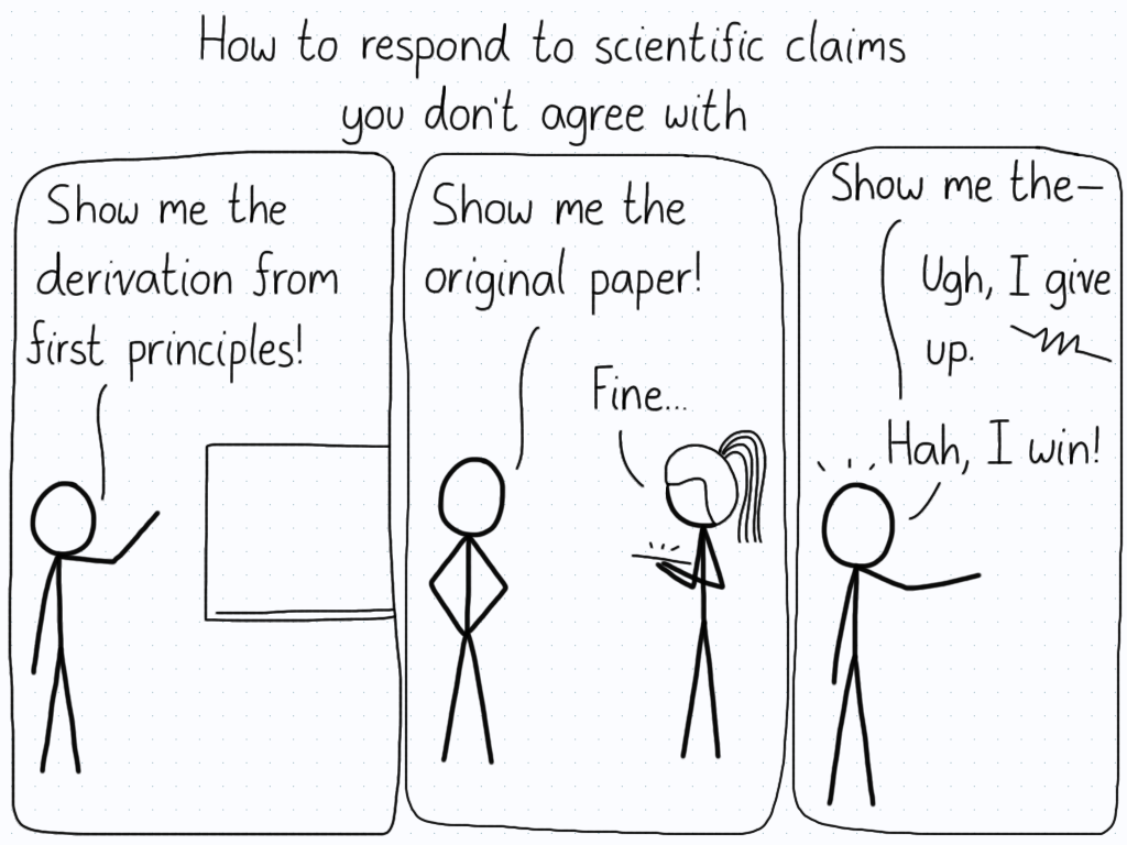 How to respond to scientific claims you don't agree with: 1) Show me derivation from first principles! 2) Show me the original paper! 3) Show me the - Ugh, never mind. Hah, I win!