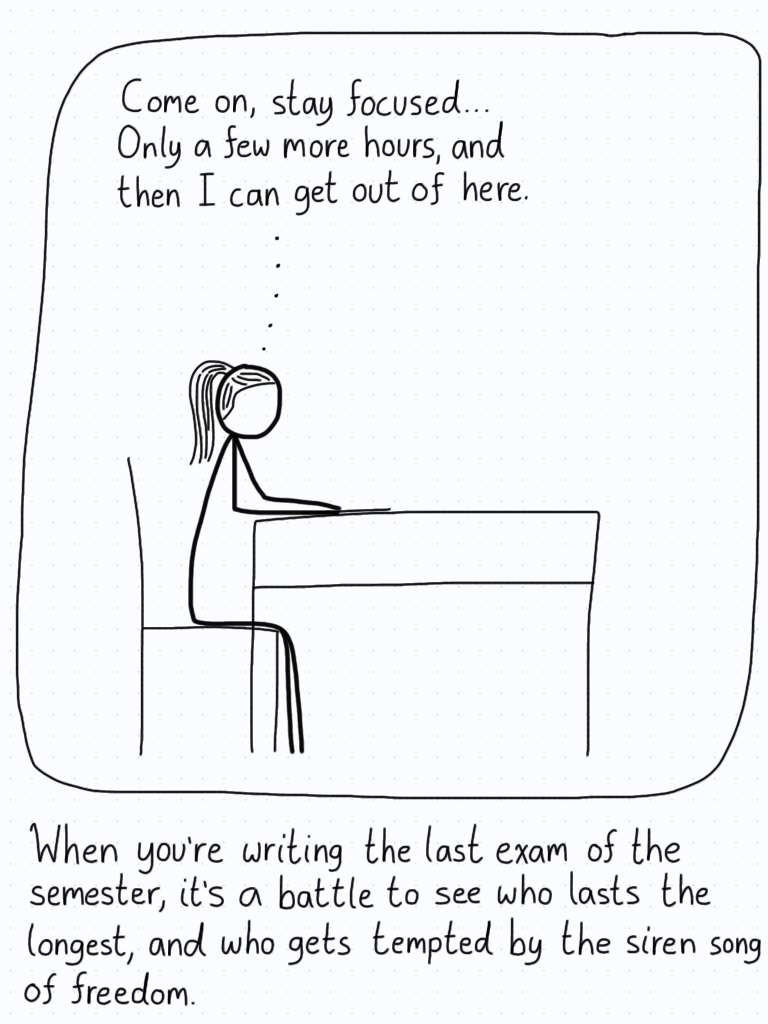 The student sits at their desk during an exam, trying to pump themselves up to not just hand in the exam and leave.