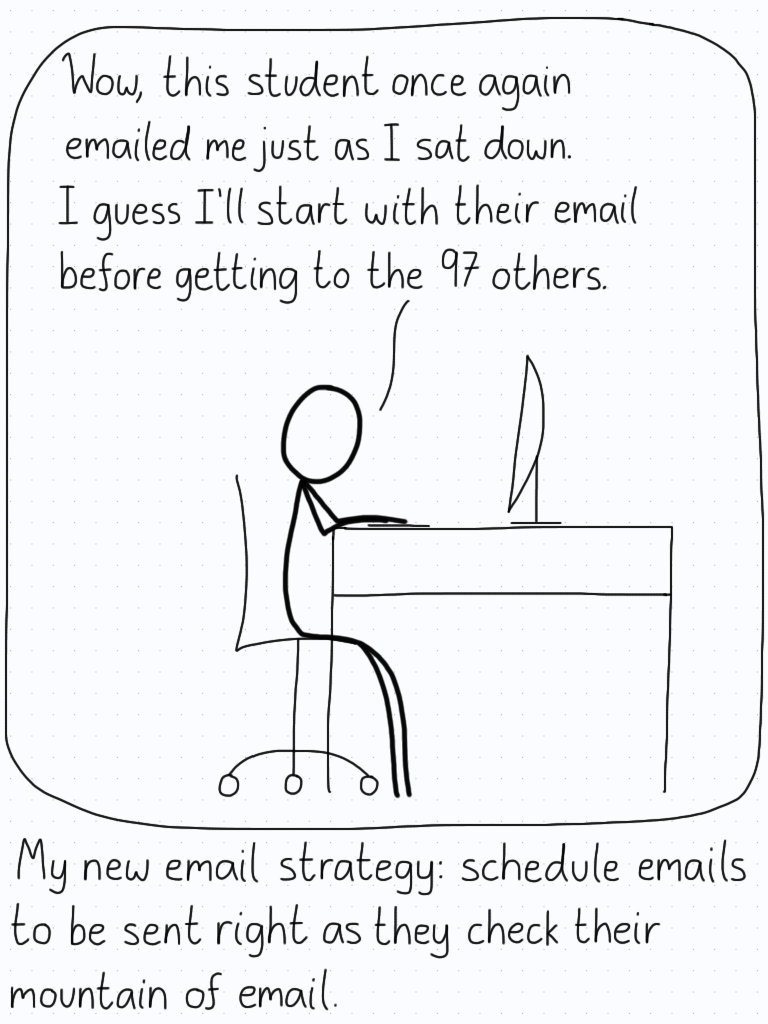 """Wow, this student once again emailed me just as I sat down. I guess I'll start with their email before getting to the 97 others."" Caption: My new email strategy: schedule emails to be sent right as they check their mountain of email."