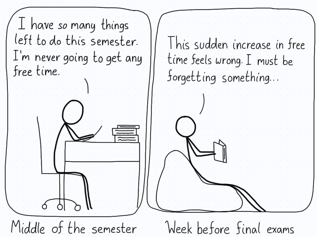 A student forgets that they need to be studying during the week before exams, not lounging around.