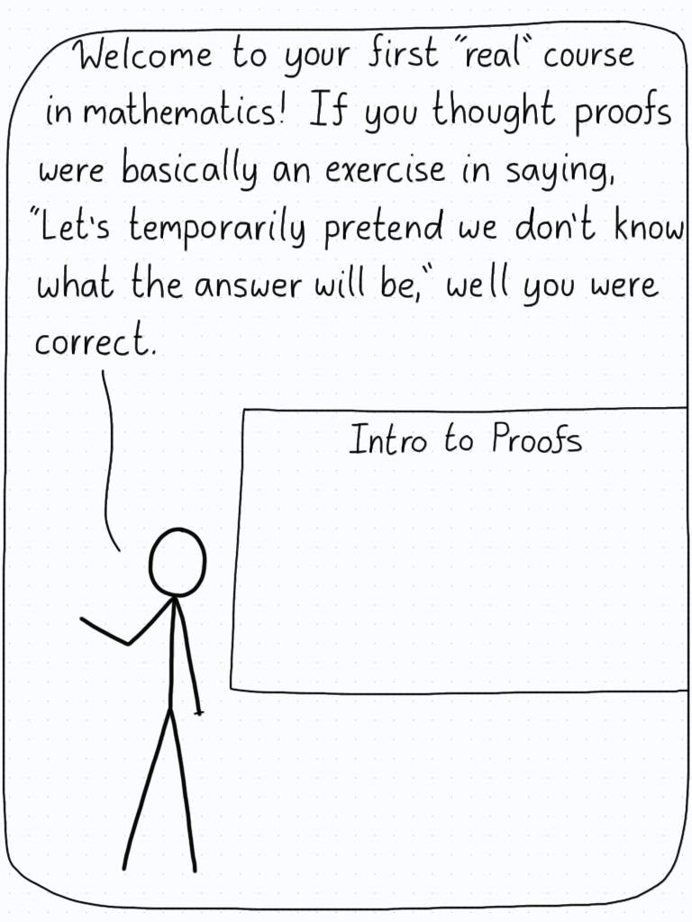 """Professor: """"Welcome to your first 'real' course in mathematics! If you thought proofs were basically an exercise in saying, 'Let's temporarily pretend we don't know what the answer will be,' well you were correct."""""""