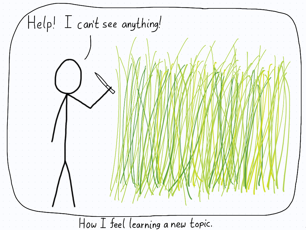 Student tries to hack through the thick grass, unable to figure out where they are.