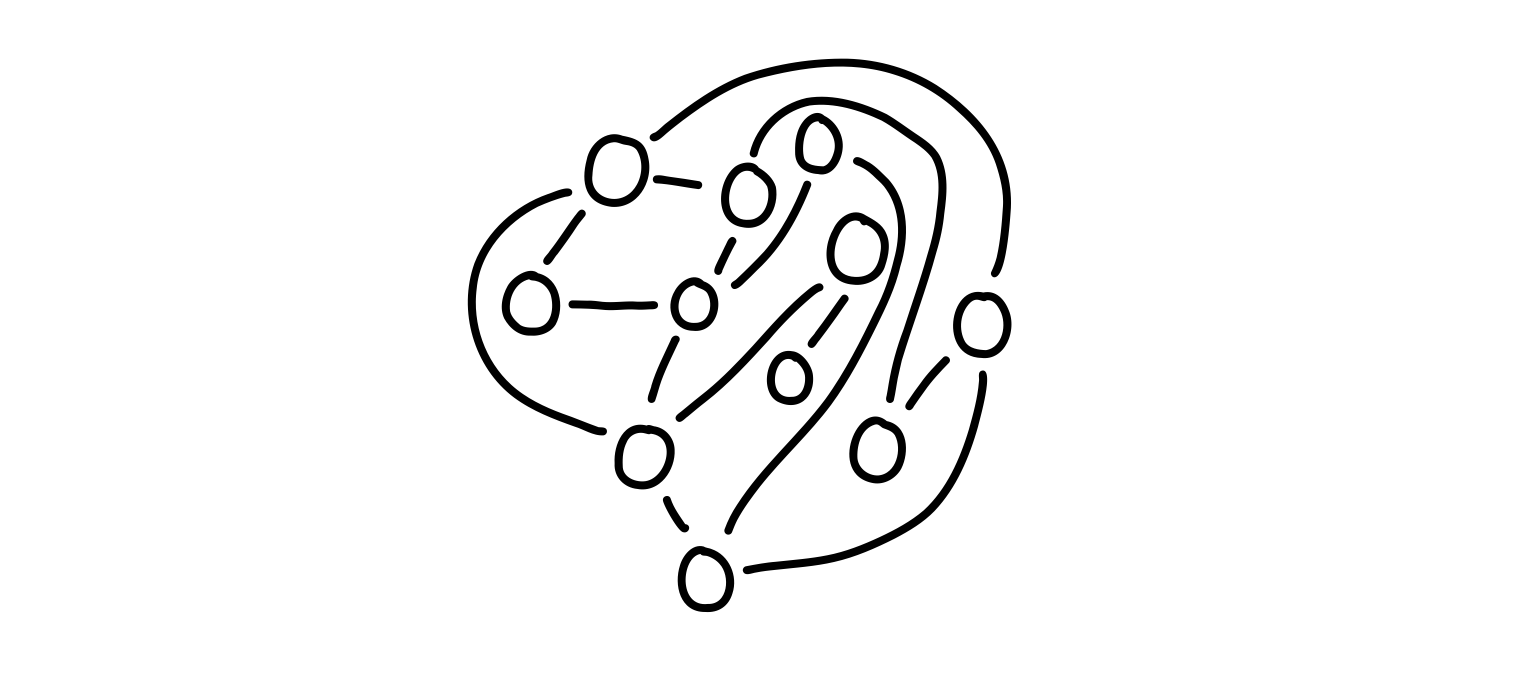 Example of a graph with N = 11 nodes.