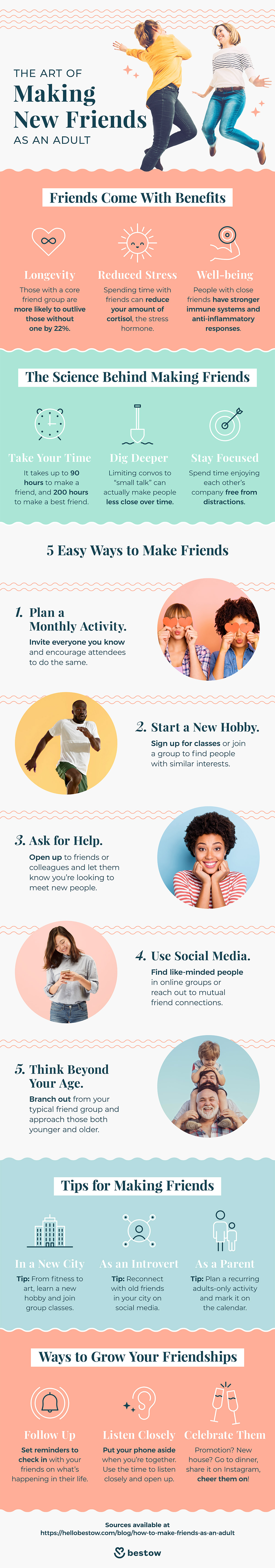 how to make friends as an adult infographic bestow