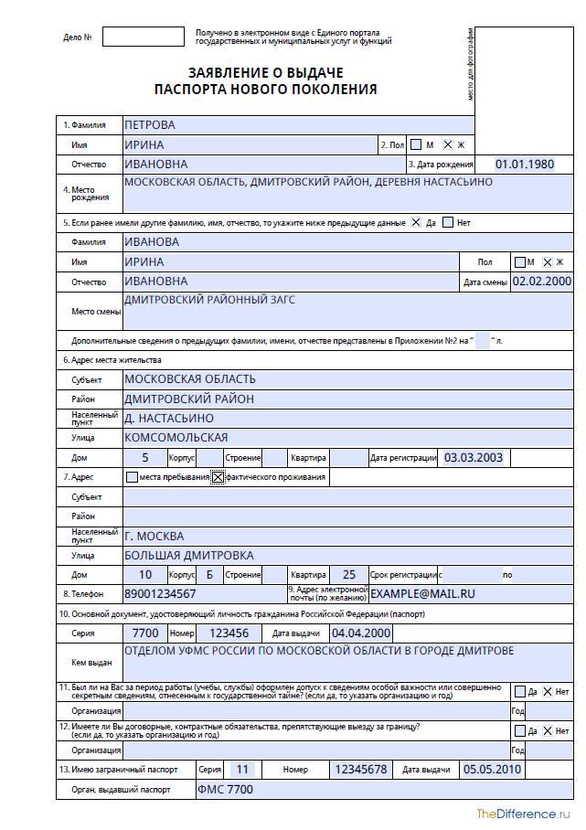 Бланк заявления на загранпаспорт нового образца в 2021 году