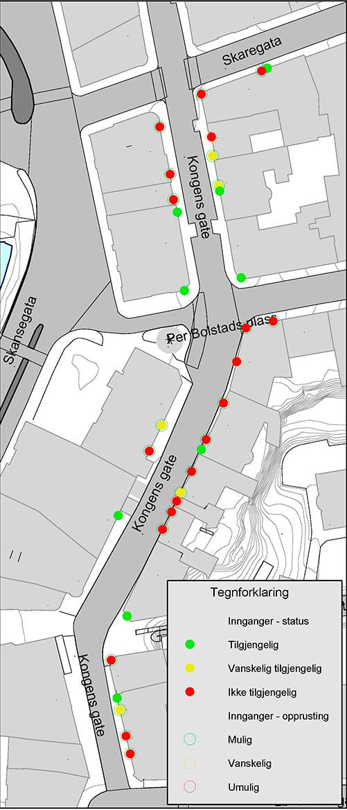 Innganger er kartlagt og gitt fargekoder ut fra tilgjengelighet.
