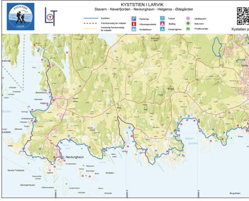 Kart som viser kyststien i Larvik
