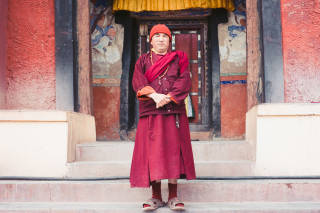 Portrait of a monk at Matho monastery, Ladakh