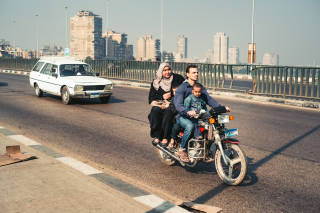 Family on a motorcycle, Cairo
