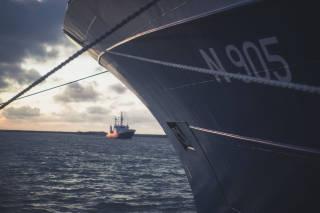 Bow of a fishing vessel alongside
