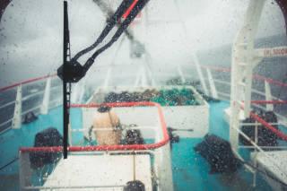 Stormy wheelhouse view
