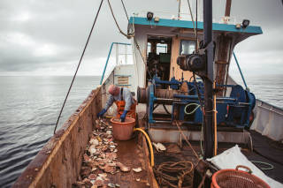 Deck view of a scallop vessel