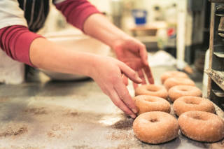 Freshly cooked doughnuts