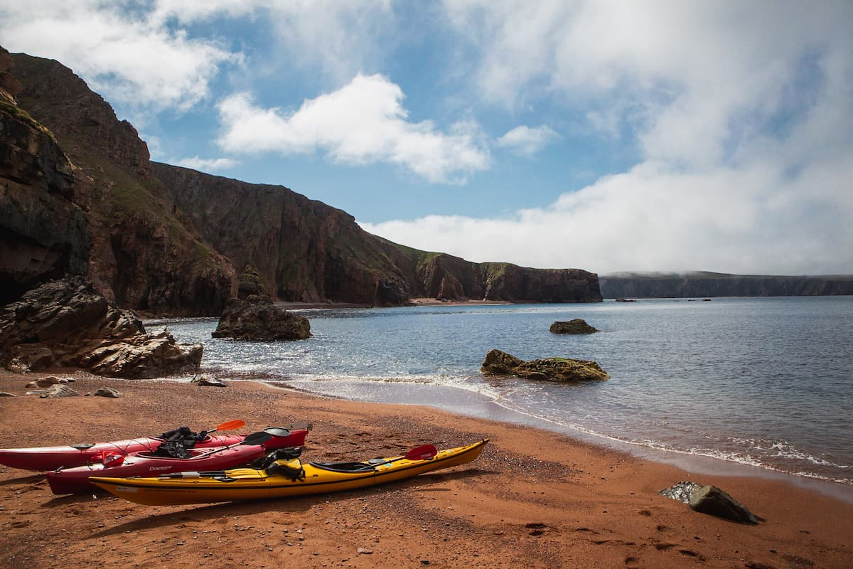 Kayaks on a beach near Ronas Voe, Shetland - August 15, 2020
