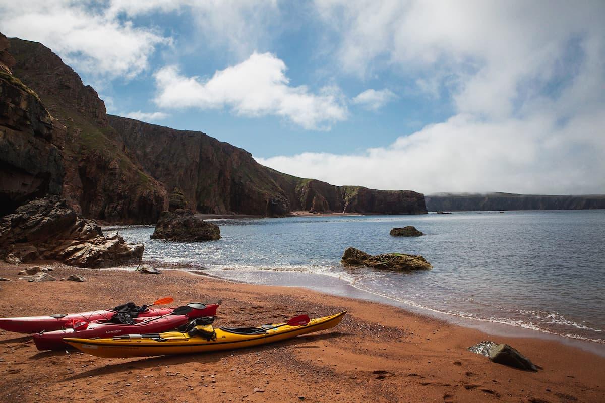 Kayaks on a beach near Ronas Voe, Shetland - August 15, 2020