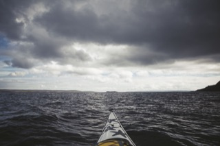 View from kayak, east coast of Fethaland