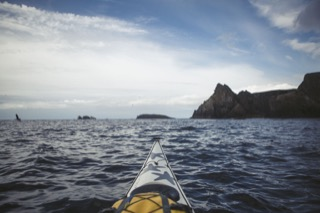 View from kayak of the Ramna Stacks, Fethaland