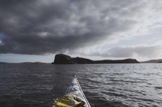 Kayak view towards South Isle, Gletness
