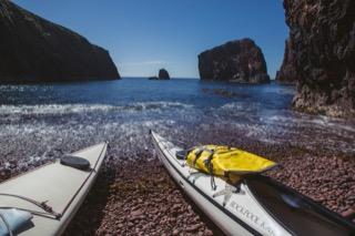 Kayaks on beach, South Papa Stour