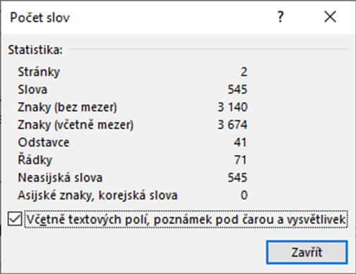 normostrana počet znaků ve Wordu
