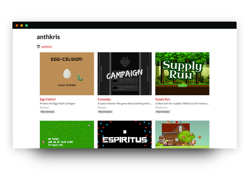 Games on Itch.io page