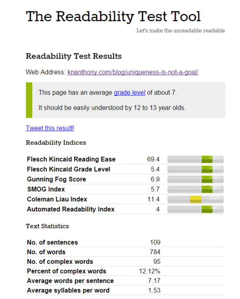 Readability Test UI