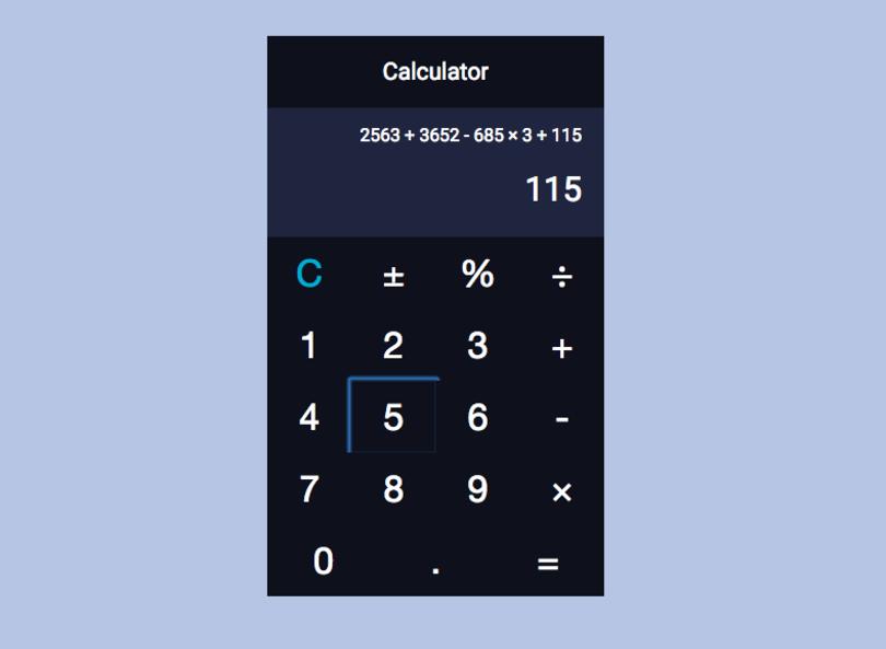 My final calculator UI