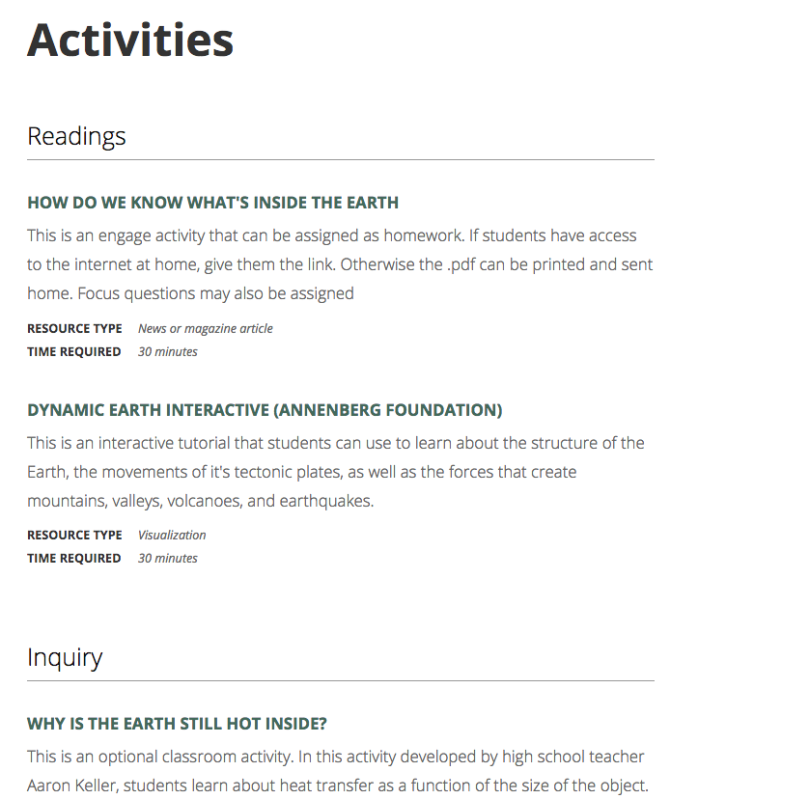 Activities and readings mockup