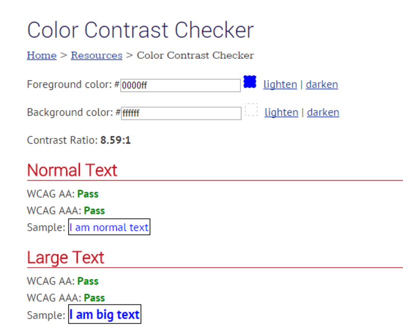 WebAIM color contrast checker UI