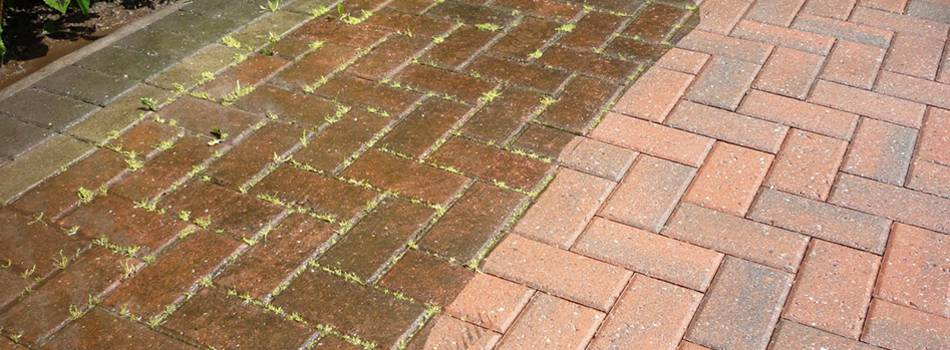 Service name: Pressure washing driveway, patio, fence and wooden decking / London