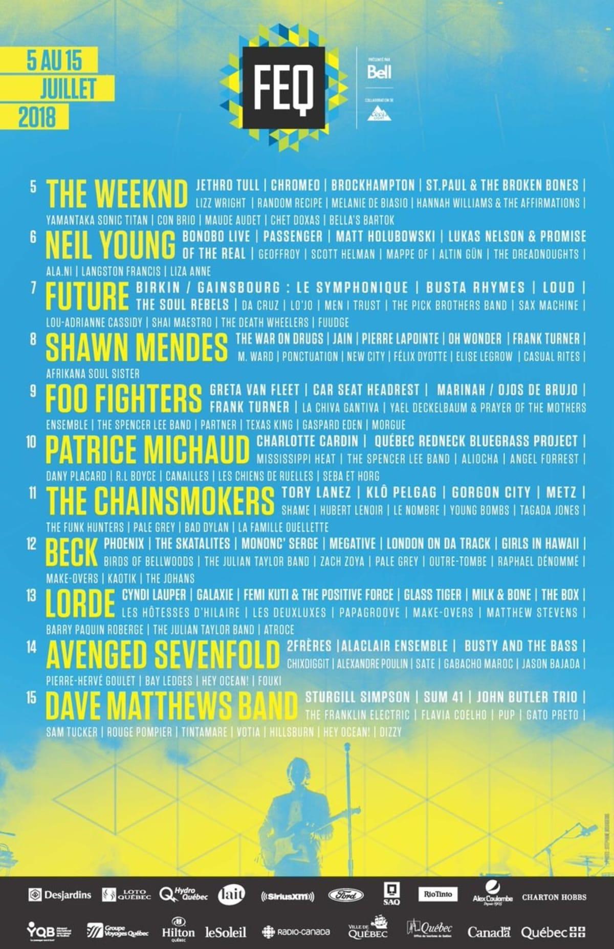 2020 Quebec City Summer Festival.Quebec City Summer Festival Announces 2018 Lineup