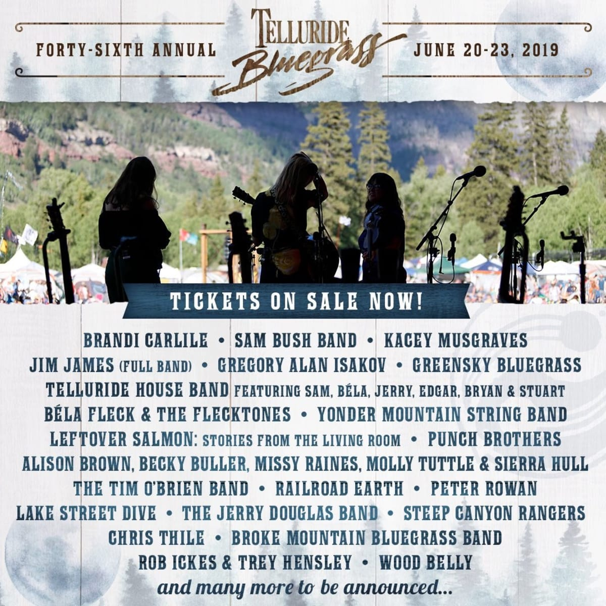 Telluride Bluegrass Festival 2020.Telluride Bluegrass Festival Confirms Preliminary 2019 Lineup