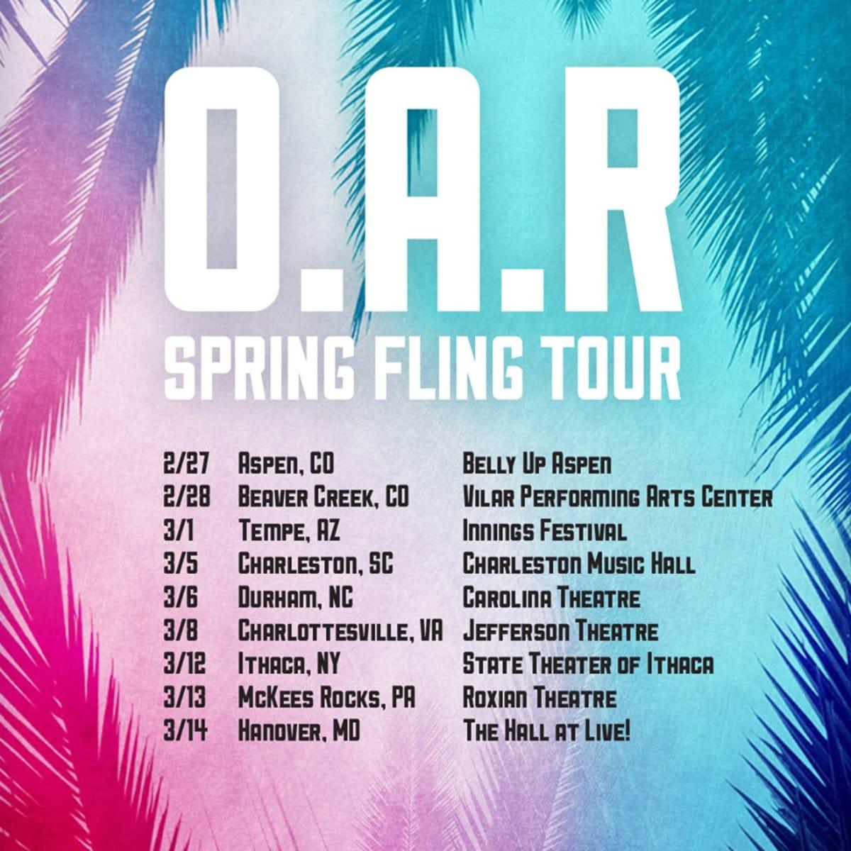 Ut Austin Calendar Spring 2020.O A R Announces Spring Fling Tour 2020