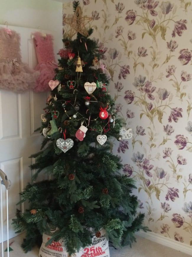 christmas tree decorated half