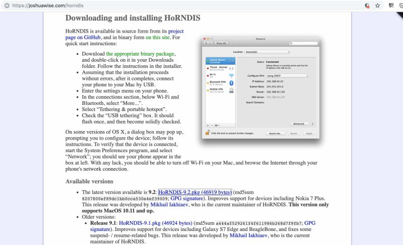 Android Usb Tethering On Mac Os