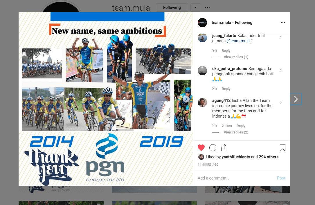 PGN Cycling Team berganti nama Menjadi Team Mula di Pertengahan Musim Ini