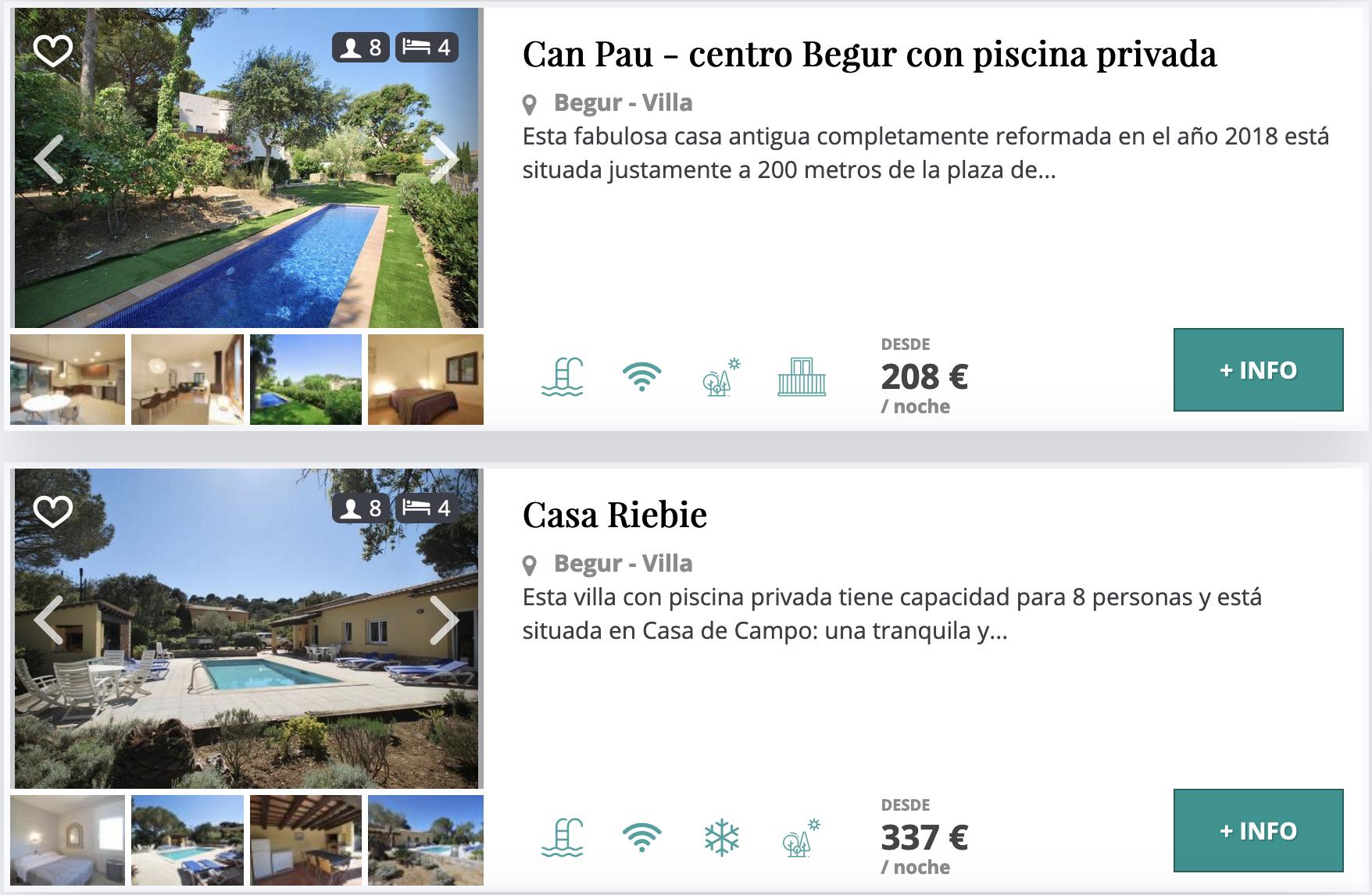 Villas con piscinan privada en Begur