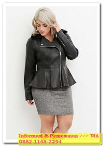 model jaket kulit untuk wanita gemuk