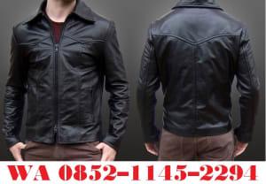 model jaket kulit berkerah