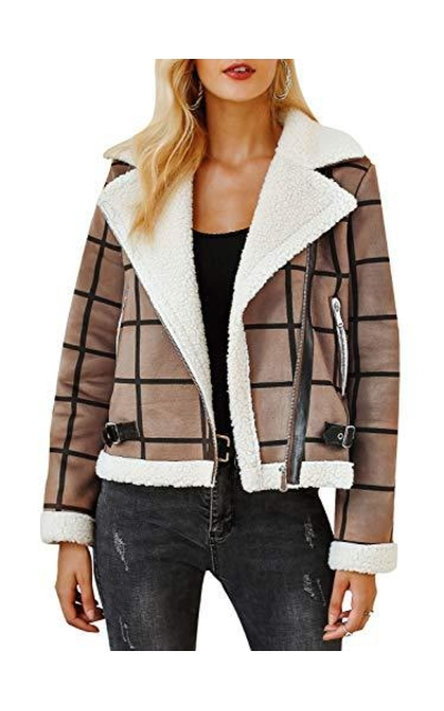 BerryGo Plaid Faux Fur Jacket